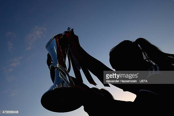 Players of 1 FFC Frankfurt lifts the UEFA Women's Champions League winners trophy after winning the UEFA Women's Champions League final match between...