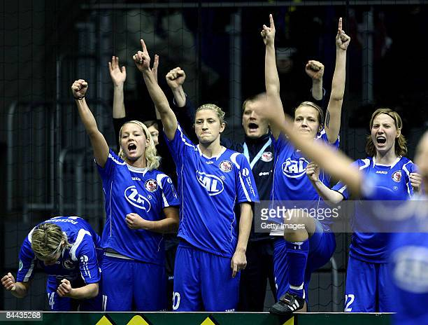 Players of 1 FFC Turbine Potsdam celebrate during the final game of the THome DFB Indoor Cup at the Boerdelandhalle on January 24 2009 in Magdeburg...