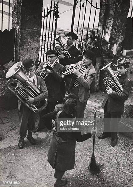 Players of a brass band in Paris . Ca. 1950.