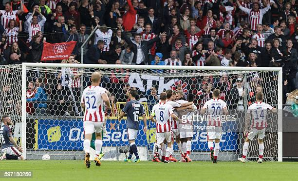 Players of Aab Aalborg celebrates after scoring their first goal during the Danish Alka Superliga match between AaB Aalborg and AGF Aarhus at...