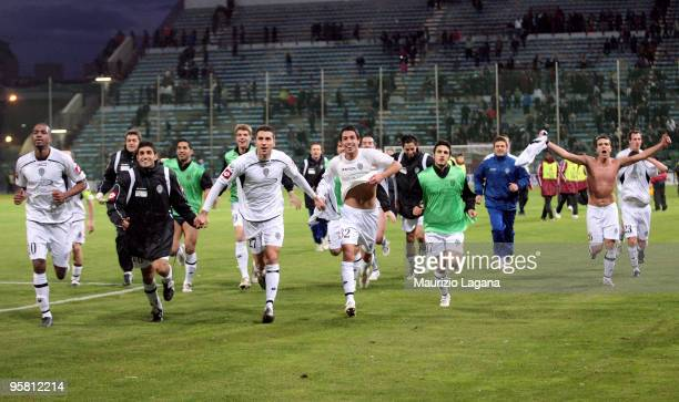 Players of AC Cesena celebrate victory after the Serie B match between Reggina and Cesena at Stadio Oreste Granillo on January 16, 2010 in Reggio...