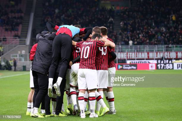 Players of Ac Milan celebrate after scoring a goal during the the Serie A match between Ac Milan and Spal Ac Milan wins 10 over Spal