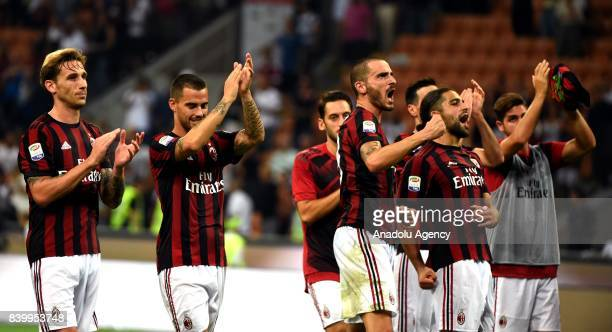 Players of AC Milan celebrate after winning the Serie A soccer match against Cagliari Calcio at San Siro Stadium in Milan Italy on August 27 2017