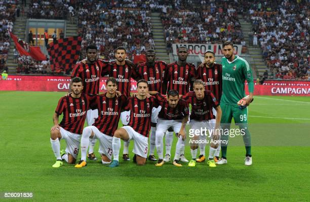 Players of AC Milan pose for a photo ahead of the UEFA Europa League third qualifying round 2nd leg match between AC Milan and CS U Cairova at San...