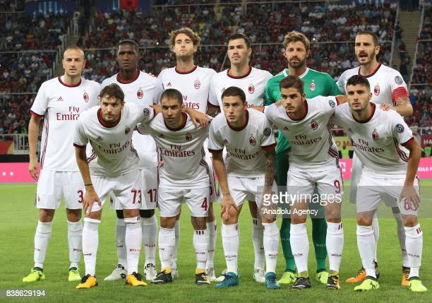 Players of AC Milan pose for a photo ahead of the UEFA Europa League playoff soccer match between AC Milan and Shkendija 79 at Philip II National...