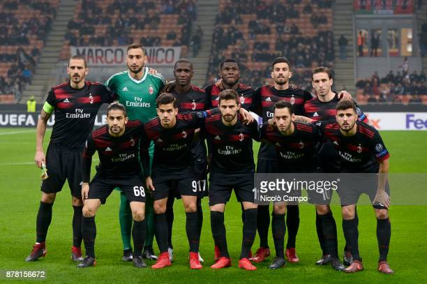 Players of AC Milan pose for a team photo prior to the UEFA Europa League football match between AC Milan and FK Austria Wien AC Milan wins 51 over...