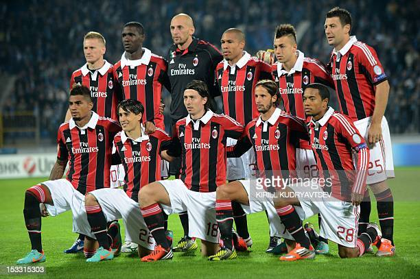 Players of AC Milan posing before UEFA Champions League group C football match between FC Zenit St Petersburg and AC Milan in SaintPetersburg on...