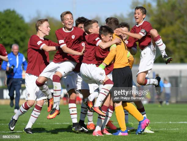 players of AC Sparta Praha celebrate the win after the game of the 3rd place during the Nike Premier Cup 2017 on may 7 2017 in Berlin Germany
