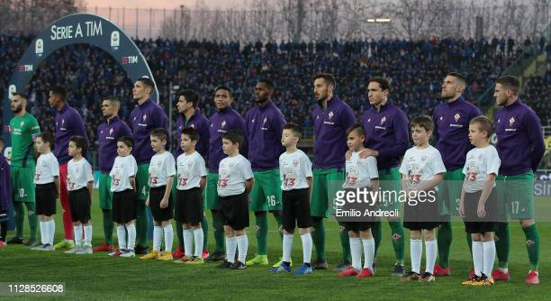 Players of ACF Fiorentina pay a tribute to Davide Astori a football player of ACF Fiorentina found dead one year ago during the Serie A match between...