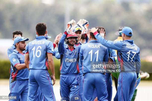 Players of Afghanistan celebrate a wicket during the ICC U19 Cricket World Cup match between Pakistan and Afghanistan at Cobham Oval on January 13...