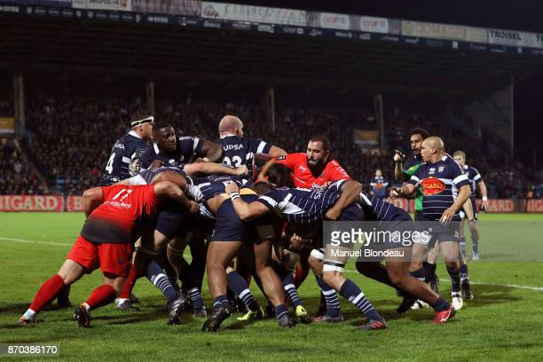 Players of Agen in action during a scrum during the French Top 14 match between Agen and Toulon at Stade Armandie on November 4 2017 in Agen France