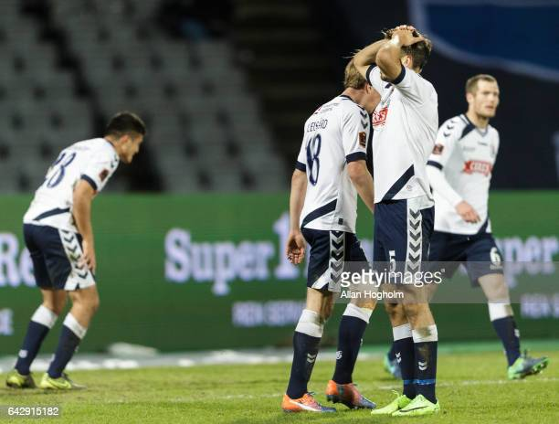 Players of AGF Aarhus looks dejected during the Danish Alka Superliga match between AGF Aarhus and AaB Aalborg at Ceres Park on February 19 2017 in...