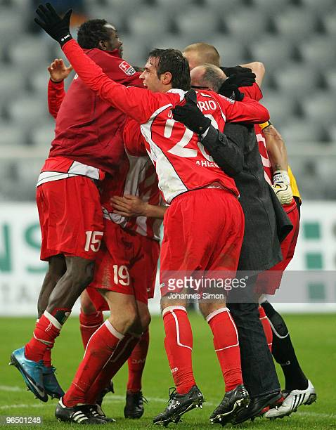 Players of Ahlen celebrate the 10 victory after the Second Bundesliga match between 1860 Muenchen and Rot Weiss Ahlen at Allianz Arena on February 8...