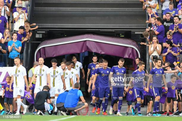 Players of AIK and Maribor before the Second qualifying round of the UEFA Champions League between NK Maribor and AIK Football at the Ljudski vrt...