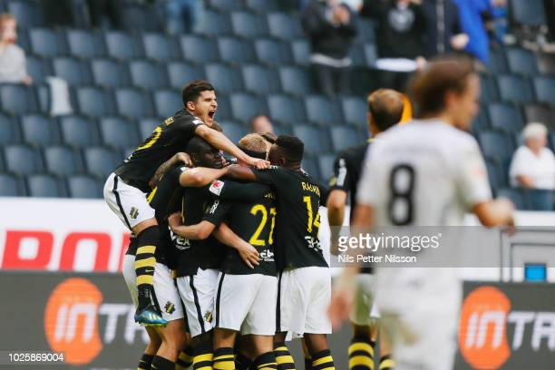 Players of AIK celebrates since Joel Ekstrand of AIK has scored the opening goal to 1-0 during the Allsvenskan match between AIK and BK Hacken at...