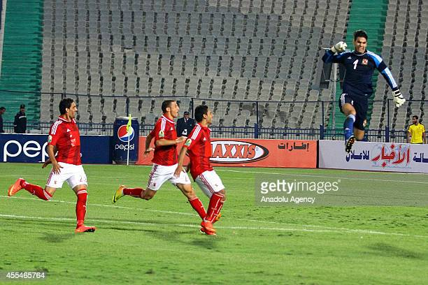 Players of Al Ahly celebrate after winning the football match between Al Ahly and Zamalek during Egypt Super Cup at Cairo International Stadium in...