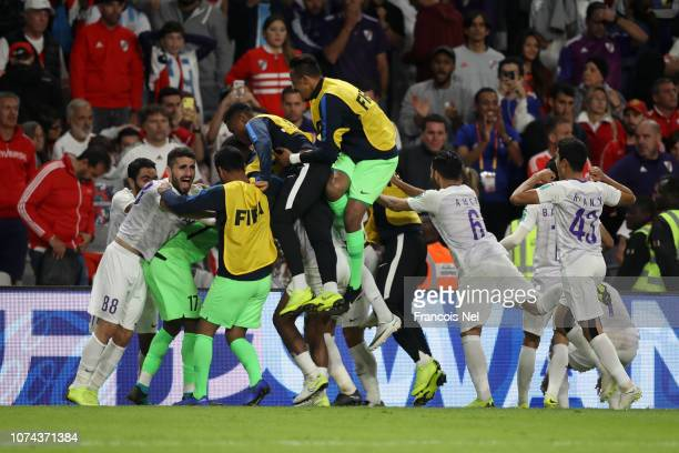 Players of Al Ain celebrates after winning the penalty shootout during the FIFA Club World Cup UAE 2018 Semi Final Match between River Plate and Al...