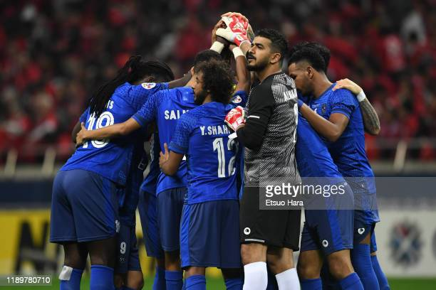 Players of Al Hilal huddle during the AFC Champions League Final second leg match between Urawa Red Diamonds and Al Hilal at Saitama Stadium on...
