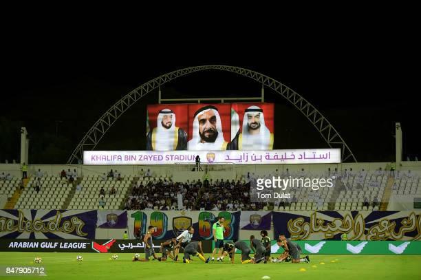 Players of Al Wasl warm up prior to the Arabian Gulf League match between Al Ain and Al Wasl at Khalifa bin Zayed Stadium on September 16 2017 in Al...