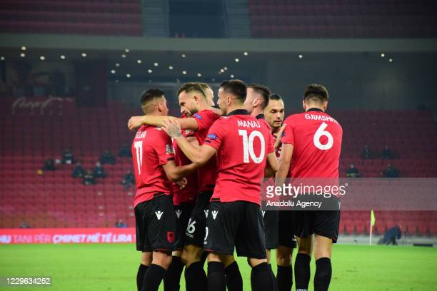 Players of Albania celebrate after scoring a goal during UEFA Nations League C fourth group match between Albania and Kazakhstan in Tirana, Albania...
