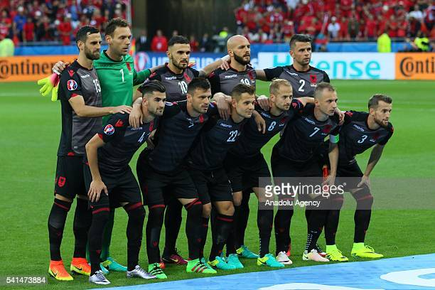 Players of Albania pose for a photograph prior to the UEFA EURO 2016 Group A match between Romania and Albania at Stade de Lyon in Lyon France on...
