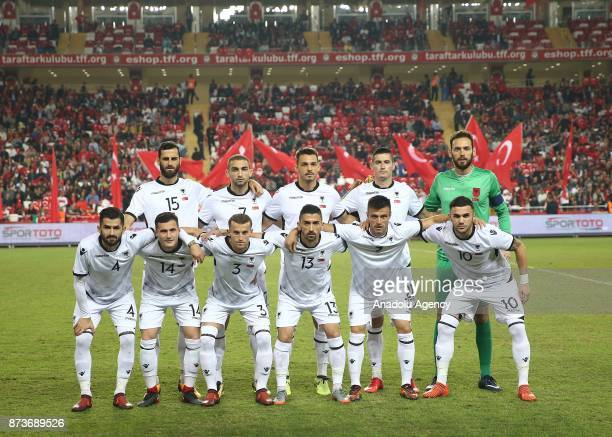 Players of Albania pose for a team photo ahead of the Friendly match between Turkey and Albania at Antalya Stadium on November 13 2017 in Antalya...