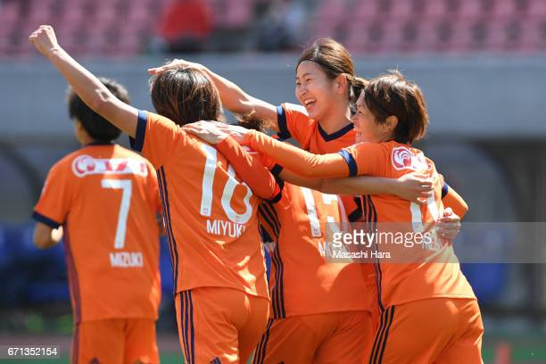 Players of Albirex Nigata celebrate the second goal by Miyuki Takahashi during the Nadeshiko League match between Albirex Niigata Ladies and INAC...