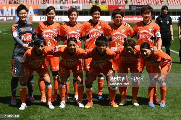 Players of Albirex Nigata pose for photograph prior to the Nadeshiko League match between Albirex Niigata Ladies and INAC Kobe Leonessa at Denka Big...