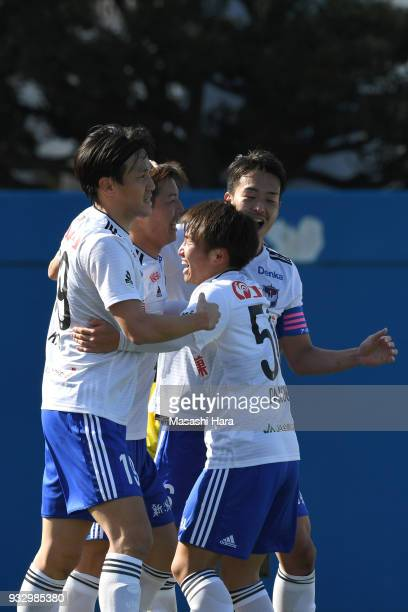 Players of Albirex Niigata celebrate the first goal during the JLeague J2 match between Yokohama FC and Albirex Niigata at Nippatsu Mitsuzawa Stadium...