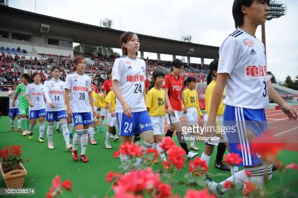 Players of Albirex Niigata Ladies looks on prior to the Nadeshiko League match between Urawa Red Diamonds Ladies and Albirex Niigata Ladies at Urawa...