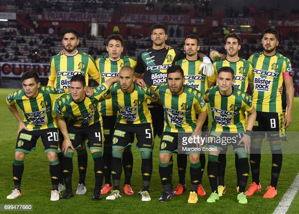 Players of Aldosivi pose for a team photo prior to a match between River Plate and Aldosivi as part of Torneo Primera Division 2016/17 at Monumental...