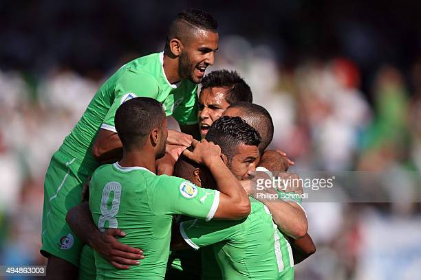 Players of Algeria celebrate the first goal from Essaid Belkalem against Armenia during the international friendly match between Algeria and Armenia...