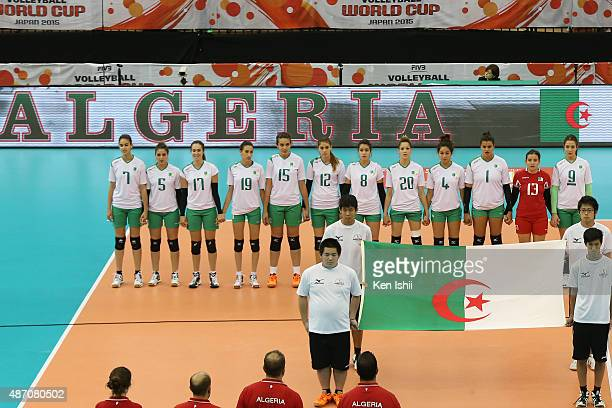 Players of Algeria line up for National Anthem prior to the match between Russia and Algeria during the FIVB Women's Volleyball World Cup Japan 2015...
