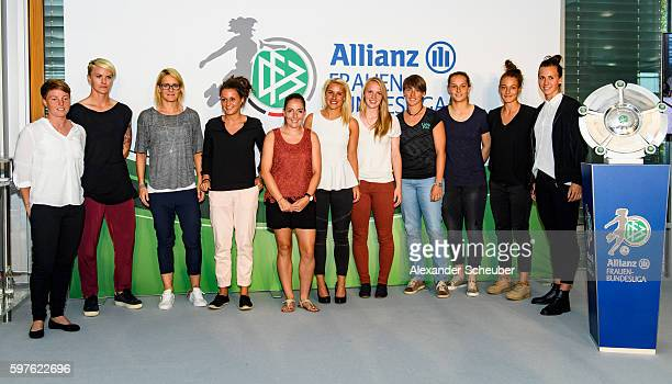 Players of all Women's Bundesliga teams pose during the Allianz Frauen Bundesliga season opening press conference at DFB Headquarter on August 29...