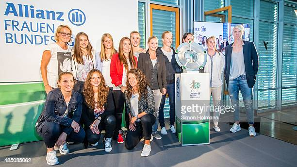 Players of all Women's Bundesliga teams pose during the Allianz Women's Bundesliga season opening press conference at DFB Headquarters on August 24...