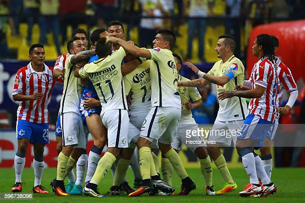 Players of America and Chivas fight during the 7th round match between America and Chivas as part of the Torneo Apertura 2016 Liga MX at Azteca...