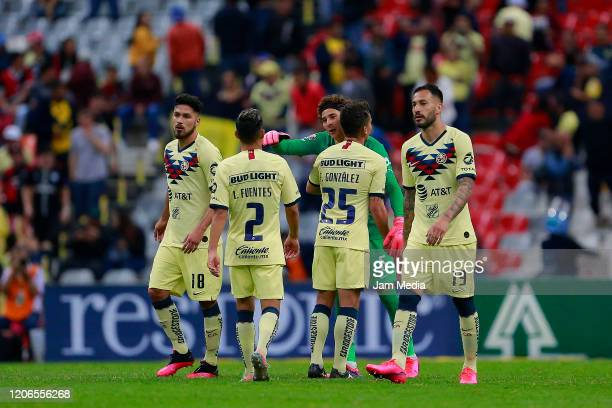 Players of America celebrate after the 6th round match between America and Atlas as part of the Torneo Clausura 2020 Liga MX at Azteca Stadium on...