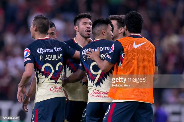 Players of America celebrate after winning the 4th round match between Atlas and America as part of the Torneo Apertura 2017 Liga MX at Jalisco...