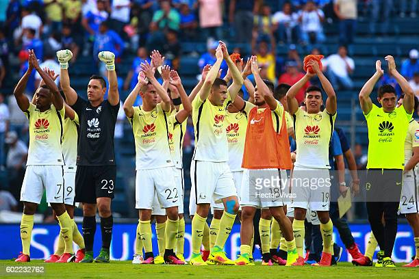Players of America celebrate after winning the 8th round match between Cruz Azul and America as part of the Torneo Apertura 2016 Liga MX at Azul...