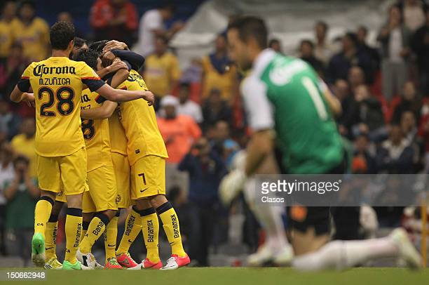 Players of America celebrate during a match between America v Correcaminos as part of the Copa Mx at Azteca Stadium on August 22 2012 in Mexico City...