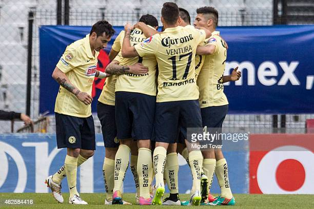 Players of America celebrate the winning goal scored by Dario Venedetto during a match between America and Tigres as part of 4th round Clausura 2015...