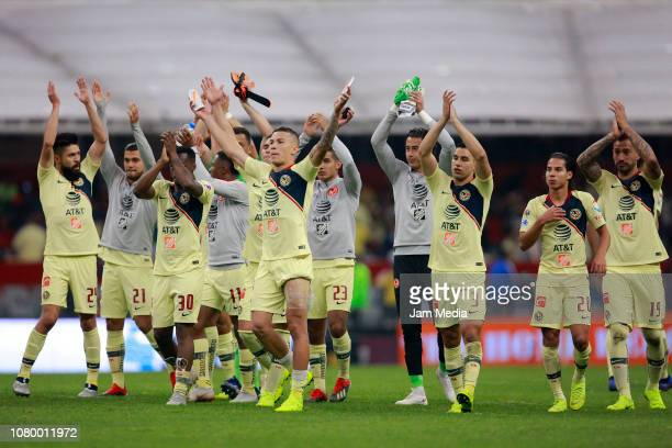 Players of America celebrates during the semifinal second leg match between America and Pumas UNAM as part of the Torneo Apertura 2018 Liga MX at...