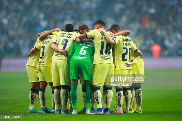 Players of America gather prior the Final first leg match between Monterrey and America as part of the Torneo Apertura 2019 Liga MX at BBVA Stadium...