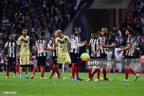 Players of America greet with players of Monterrey after the Final first leg match between Monterrey and America as part of the Torneo Apertura 2019...