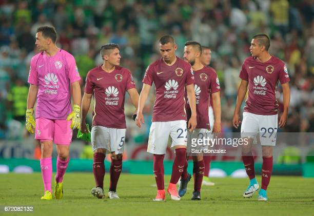 Players of America leave the field after the match between Santos Laguna and America as part of the Torneo Clausura 2017 Liga MX at Corona Stadium on...