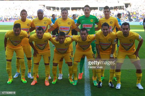 Players of America pose for a photo before a match between America and Santos Laguna as part of the 10th round Clausura 2014 Liga MX at Azteca...