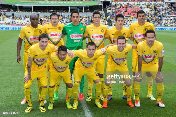 Players of America pose for pictures before a match between America and Queretaro as part of the 16th round Clausura 2014 Liga MX at Azteca Stadium...