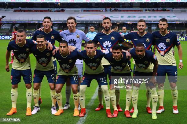 Players of America pose prior the 7th round match between America and Monarcas as part of the Torneo Clausura 2018 Liga MX at Azteca Stadium on...