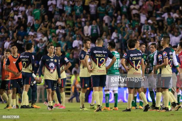 Players of America react after a defeat in the 11th round match between Leon and America as part of the Torneo Apertura 2017 Liga MX at Leon Stadium...