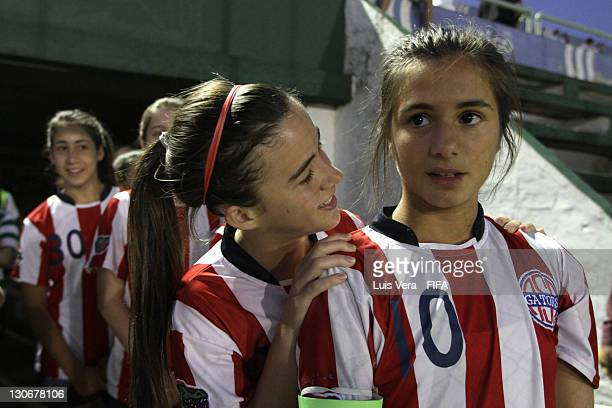 Players of American School before the FIFA Women's Football Initiative on October 27 2011 in Asuncion Paraguay